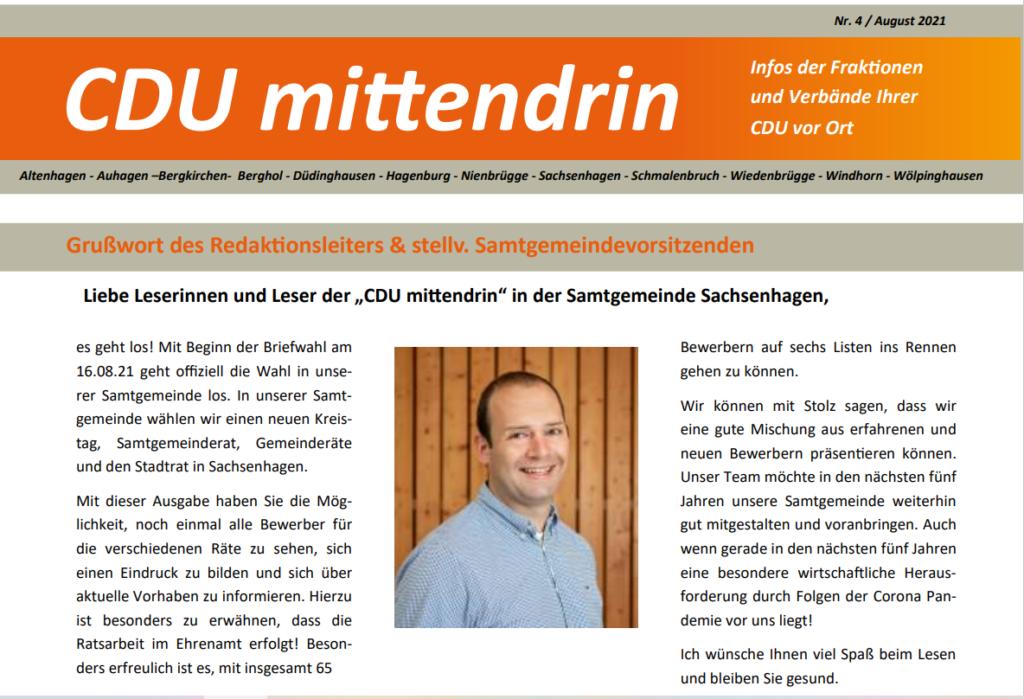 CDU Mittendrin Ausgabe 4/ August 2021